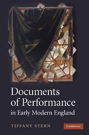 Prize winner  David Bevington Award for Best New Book in Early Drama Studies 2010 - Winner: Professor Tiffany Stern, Oxford
