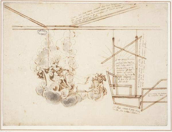 © Archives Nationales. Projet pour le prologue d'Aricie (1697, livret de l'abbé Pic et musique de Lacoste ; Archives nationales, O1 *3241, fol 46(a)