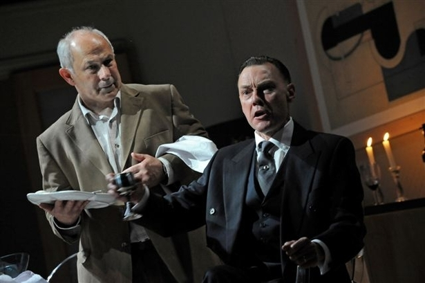 Nicholas Woodeson and Paul Brightwell. OP and Watford Palace Theatre Production of Von Ribbentrop's Watch.  Photo credit: Robert DAY. Courtesy of OP.