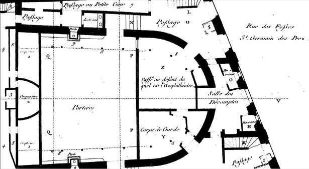Plan du rez-de-chaussée d'après le plan Blondel.