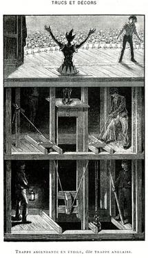 Trappe ascendante en étoile dite trappe anglaise © Illustration Georges Moynet, dans l'ouvrage Trucs et décors