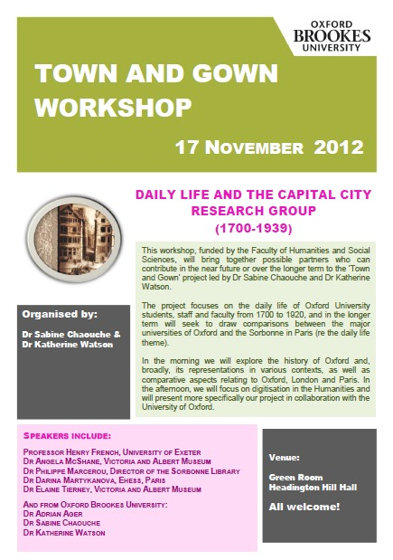 Town and Gown Workshop, org. by Dr S. Chaouche and Dr K. Watson