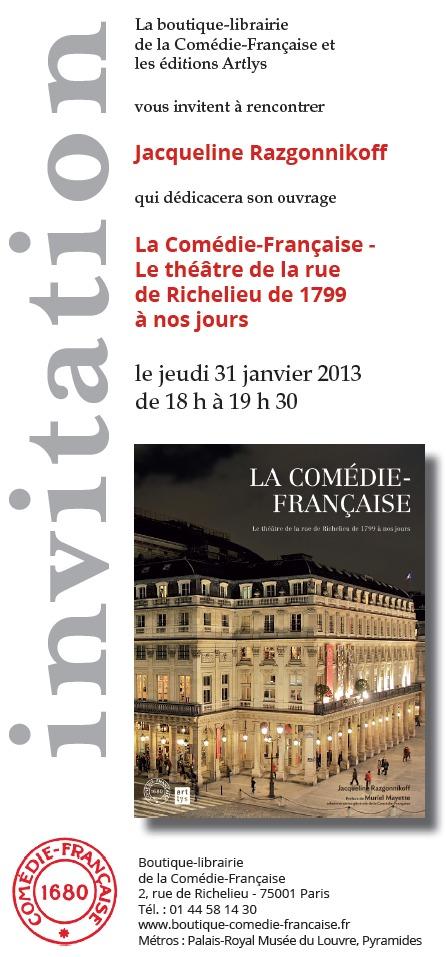 Parution: La Comédie-Française. Le théâtre de la rue de Richelieu de 1799 à nos jours par Jacqueline Razgonnikoff