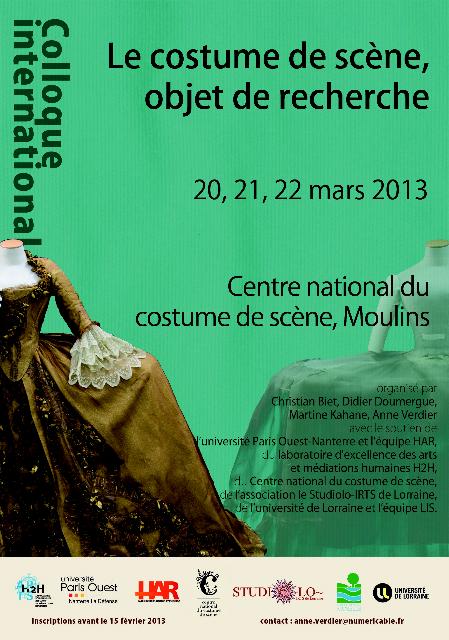 Conférence: Le Costume objet de recherche