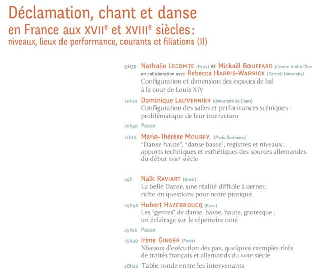Séminaire de Recherche : Déclamation, chant et danse en France aux XVIIe  et XVIIIe  siècles : niveaux, lieux de performance, courants et filiations, J.-N. Laurenti et B. Louvat (dir.)