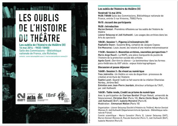 """Journée d'études : """"Les oublis de l'histoire du théâtre"""", Bibliothèque nationale de France, vendredi 16 mai prochain."""