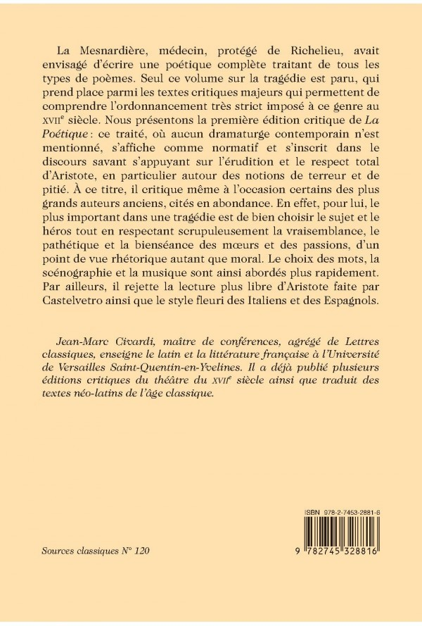 Parution: La Poétique de La Mesnardière (éd. Jean-Marc Civardi)