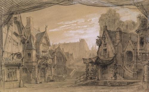 Vue de ville, Marion de Lorme de Victor Hugo, remise de 1873. Décor de Rubé et Chaperon © Comédie Française