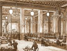 Yablochkov arc lamps illuminating Music hall on la Place du Chateau d'eau in Paris ca 1880. (c)