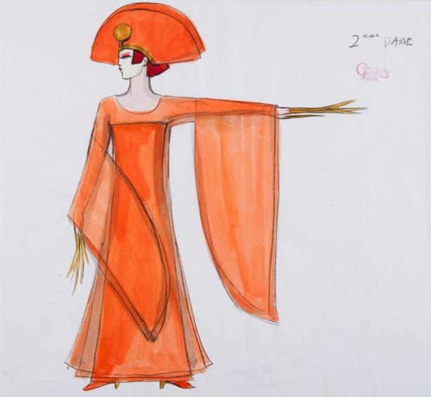 Kenzo, maquette de costume pour La Flûte enchantée de Mozart 1999 Coll. BnF/ BmO © Opéra national de Paris/ Julien Benhamou