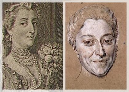 """figure de gauche: Mlle Quinault dans """"Le Glorieux"""" de Destouches (Lancret / Dupuis)"""