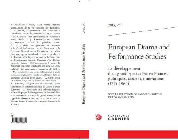"""EDPS n°1 Le Développement du """"grand spectacle"""" en France: politiques, gestion, innovations (1715-1864)"""
