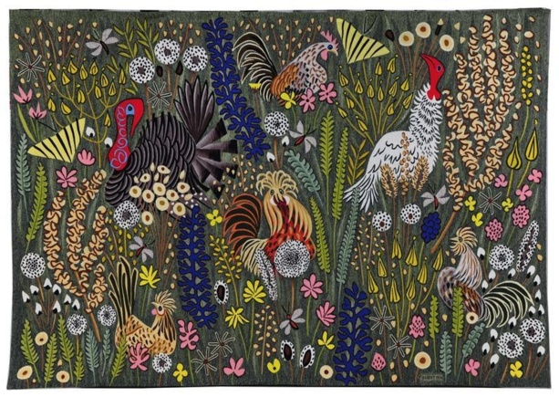 """Dom Robert, """"Mille fleurs sauvages"""", tapisserie d'Aubusson, 1961 2 x 2,95m)"""