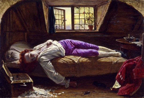 wikicommons. H. Wallis, The Death of Chatterton