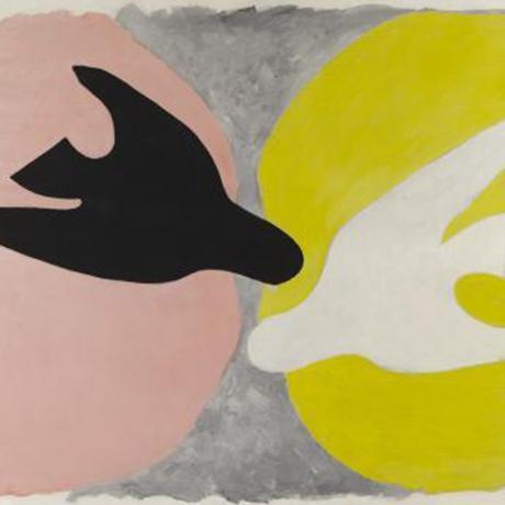 Georges Braque, L'oiseau noir et l'oiseau blanc,1960, Huile sur toile, 134 x 167,5 cm, Paris © Leiris SAS Paris © Adagp, Paris 2013 - See more at: http://www.grandpalais.fr/fr/evenement/georges-braque#sthash.lcmQ31vk.dpuf