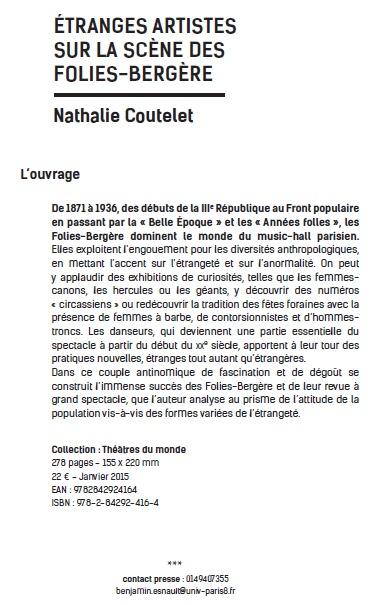 Publication: Etranges artistes sur la scène des Folies-Bergère par Nathalie Coutelet