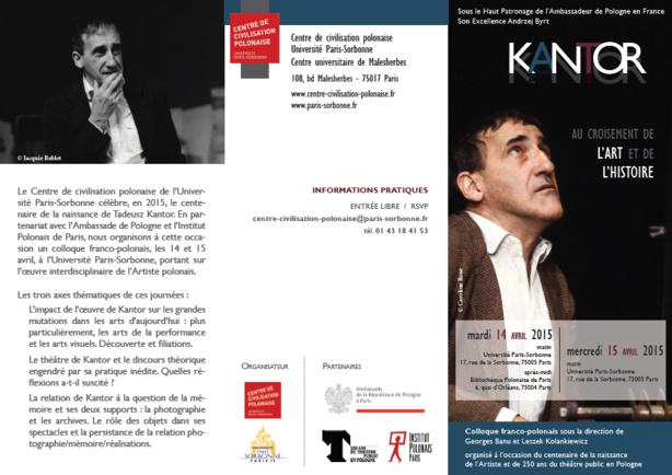 Conférence: Kantor, au croisement de l'art et de l'histoire, 14 et 15 avril 2015.
