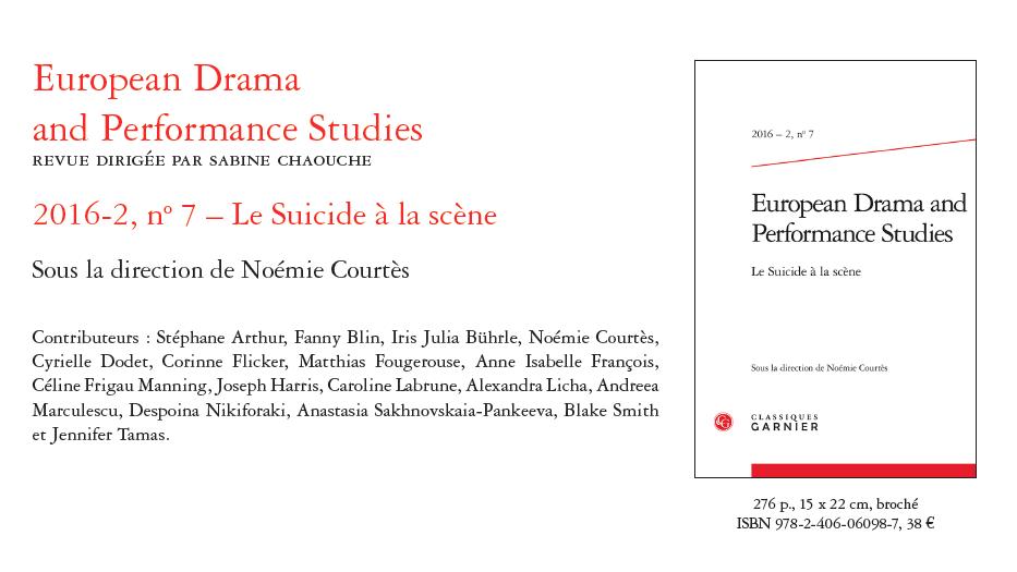 EDPS 7: Le Suicide à la scène. Noémie Courtès (dir.)