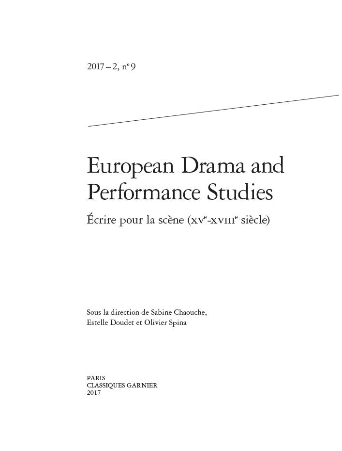 Publication: Ecrire pour la scène (XVe-XVIIIe siècle), Sabine Chaouche, Estelle Doudet et Olivier Spina (dir.)