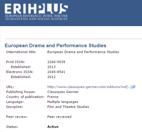 EUROPEAN DRAMA AND PERFORMANCE STUDIES (EDPS)