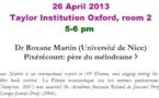 Theatre Seminar, Taylor Institution, Oxford 26 April